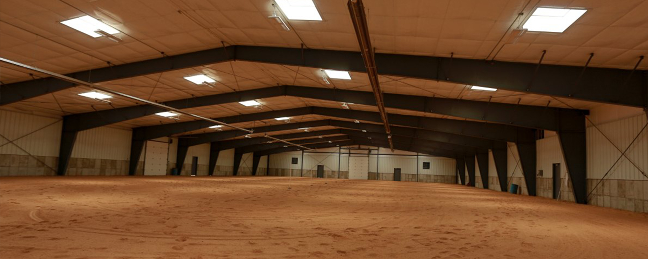 interior of horse arena build by Center Point